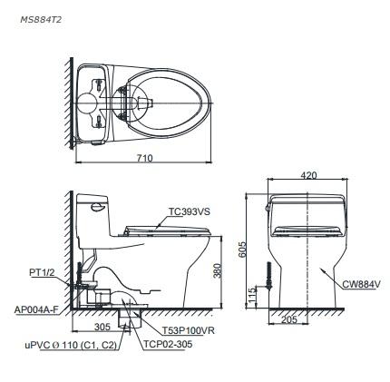 Bản vẽ bồn cầu C884 TOTO